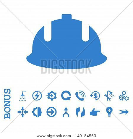 Construction Helmet vector icon. Image style is a flat pictogram symbol, cobalt color, white background.