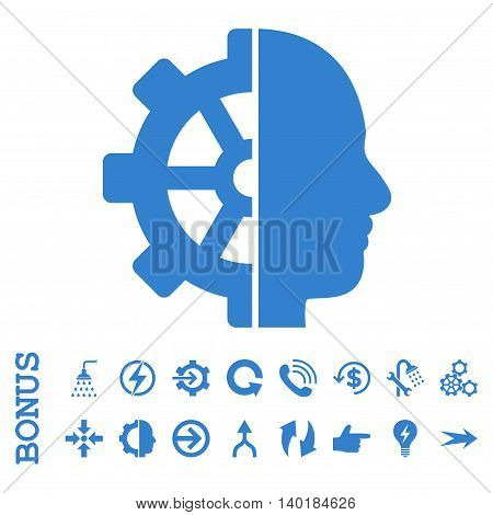 Cyborg Gear vector icon. Image style is a flat pictogram symbol, cobalt color, white background.