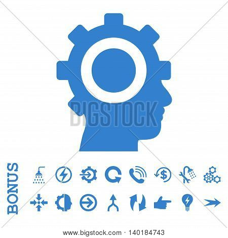 Cyborg Gear vector icon. Image style is a flat iconic symbol, cobalt color, white background.