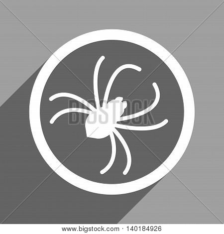 Spider long shadow vector icon. Style is a flat spider white iconic symbol on a gray square background.