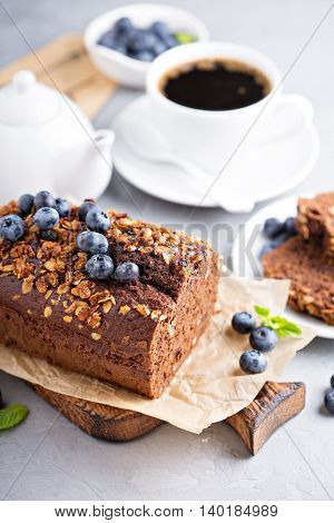 Chocolate whole wheat quick bread with nuts and fresh blueberry