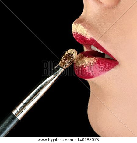 Fashionable Model Girl With Perfect Bright Color Makeup. Closeup Beautiful Woman With Red Glossy Lip