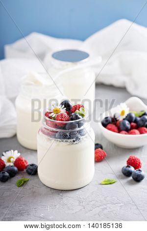 Fresh homemade yogurt in small jars served with fresh berries