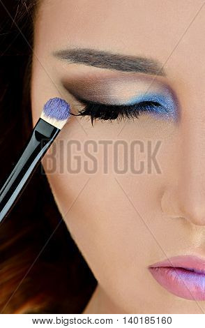 Portrait Of Sexy Fashion Model Girl With Bright Eye Makeup. Beautiful Woman With Long False Eyelashe