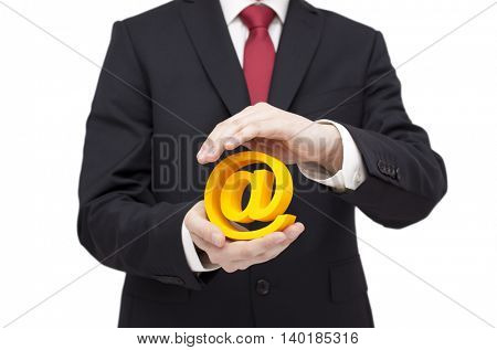 3d email symbol protected by hands. Clipping path included.