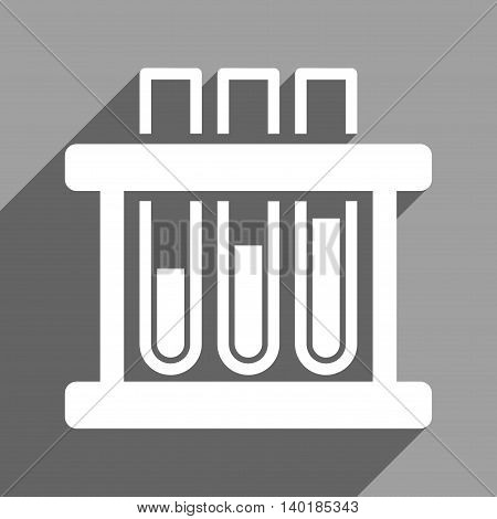 Test Tubes long shadow vector icon. Style is a flat test tubes white iconic symbol on a gray square background.