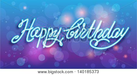 Happy birthday handwriting vector background