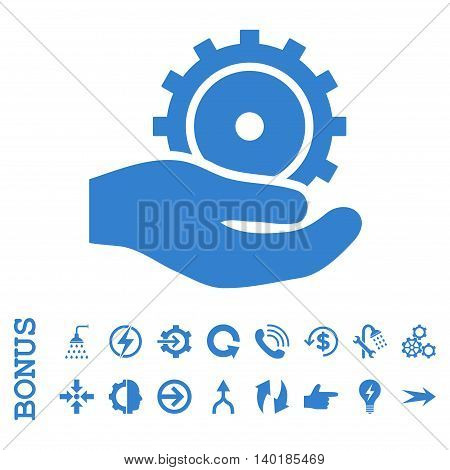Development Service vector icon. Image style is a flat iconic symbol, cobalt color, white background.