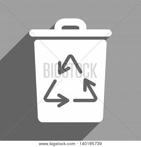 Trash Can long shadow vector icon. Style is a flat trash can white iconic symbol on a gray square background.