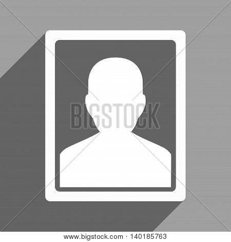 User Portrait long shadow vector icon. Style is a flat user portrait white iconic symbol on a gray square background.