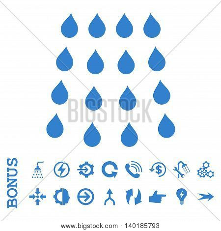 Drops vector icon. Image style is a flat pictogram symbol, cobalt color, white background.