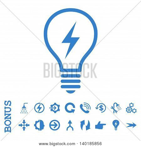 Electric Bulb vector icon. Image style is a flat pictogram symbol, cobalt color, white background.
