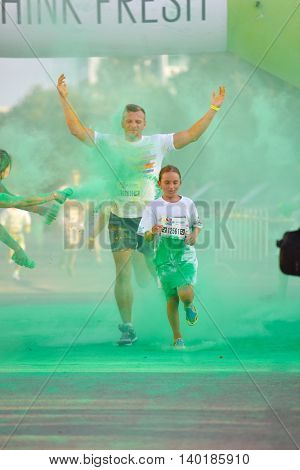 MAMAIA, CONSTANTA, ROMANIA - AUGUST 1: Mamaia color run 2015, in Mamaia, Constanta, on August 1, 2015. People from all walks of life participating in the fun