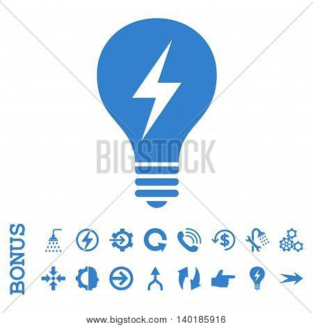 Electric Bulb vector icon. Image style is a flat iconic symbol, cobalt color, white background.