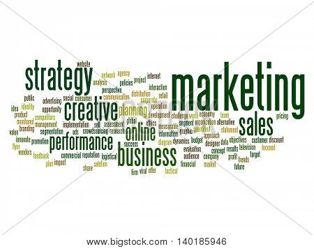 Concept or conceptual business marketing target word cloud isolated on background