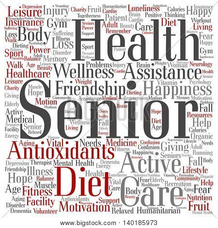 Concept conceptual old senior health, care or elderly people abstract square word cloud isolated on background