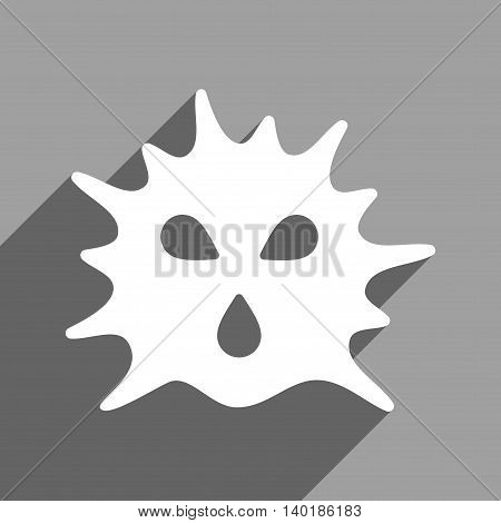Virus Structure long shadow vector icon. Style is a flat virus structure white iconic symbol on a gray square background.