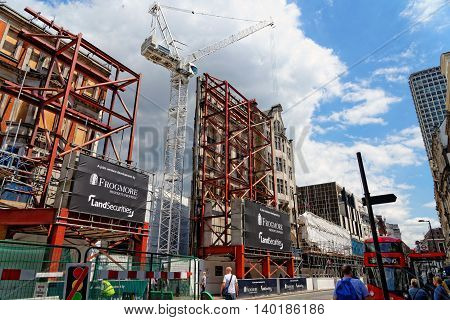 LONDON - JULY 1 2014: Huge construction site at Oxford street in London near Tottenham Court Road station and the new Primark store.