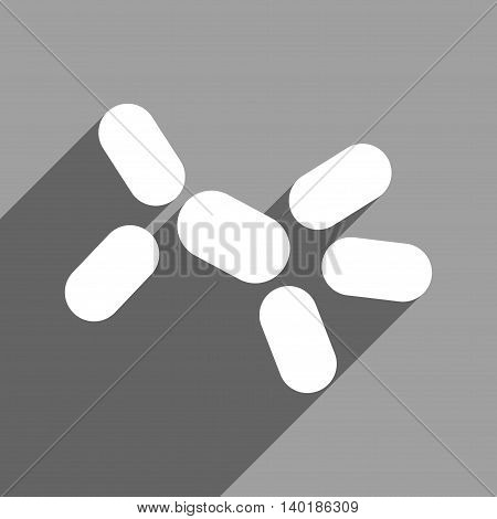Yeast long shadow vector icon. Style is a flat yeast white iconic symbol on a gray square background.