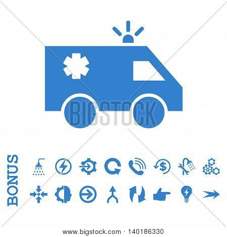 Emergency Car vector icon. Image style is a flat iconic symbol, cobalt color, white background.