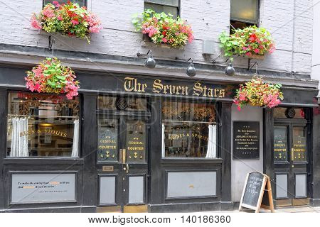 LONDON ENGLAND - JULY 1 2014 The Seven Stars Pub on 53-54 Carey Street Holborn London after the recent exterior renovation work