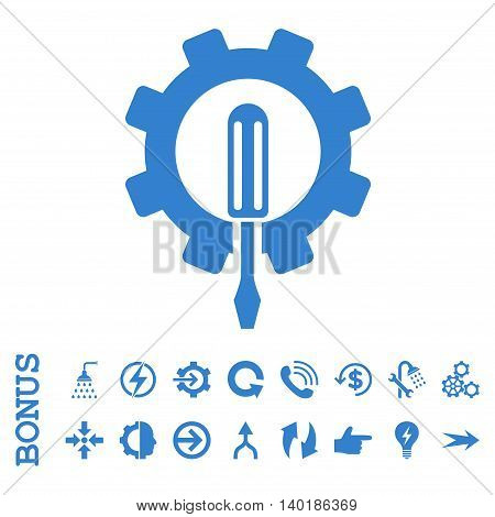 Engineering vector icon. Image style is a flat pictogram symbol, cobalt color, white background.