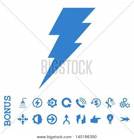 Execute vector icon. Image style is a flat pictogram symbol, cobalt color, white background.