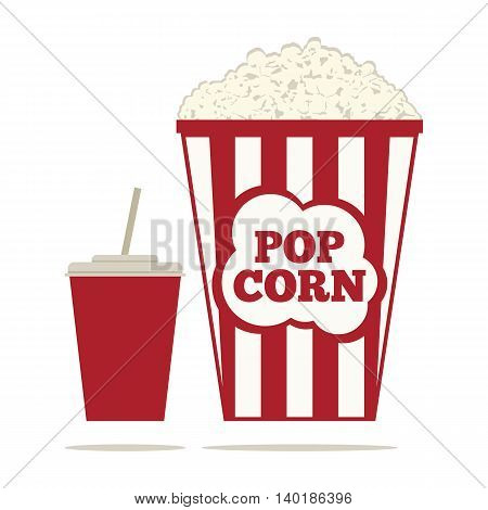 Popcorn and a drink in a glass with a straw. Flat vector illustration.