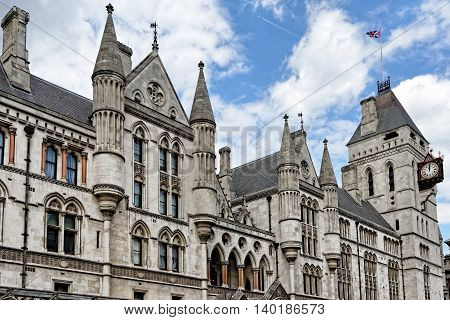The historical building of Royal Courts of Justice in London England