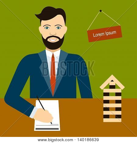 Male estate agent signs documents sitting at workplace Model home is on desktop of realtor
