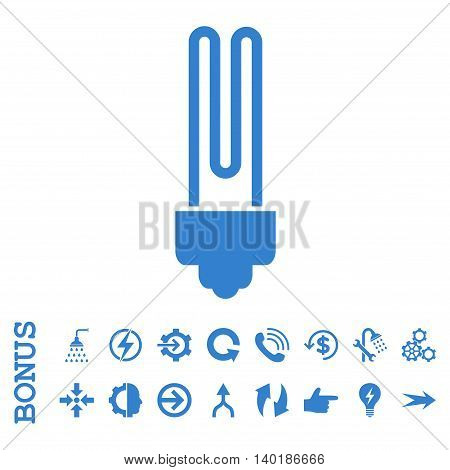 Fluorescent Bulb vector icon. Image style is a flat iconic symbol, cobalt color, white background.