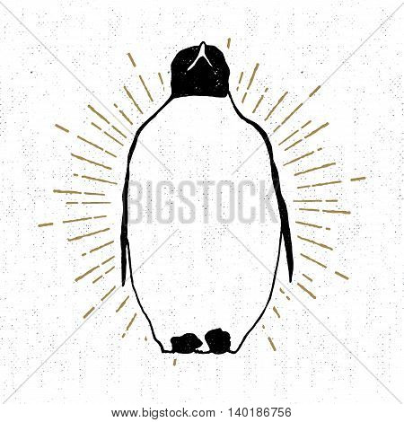 Hand drawn vintage icon with a textured penguin vector illustration.