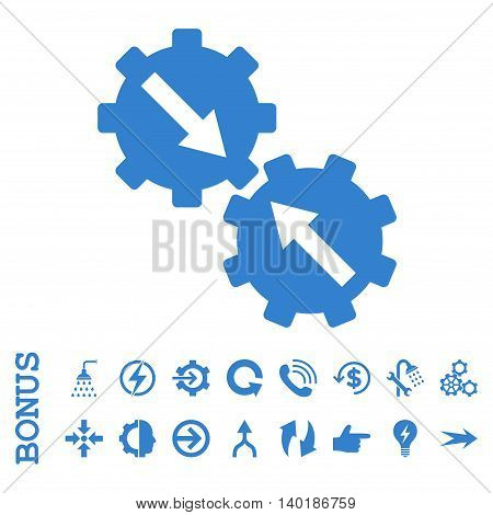 Gear Integration vector icon. Image style is a flat pictogram symbol, cobalt color, white background.
