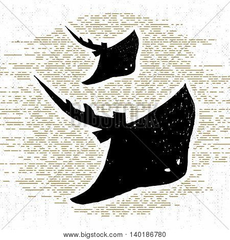 Hand drawn vintage icon with a textured stingrays vector illustration.