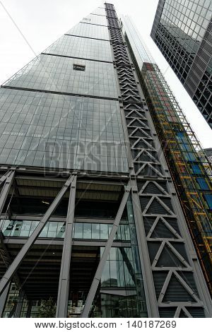 LONDON UK - JULY 1 2014: The famous office building - The Cheesegrater (Leadenhall Building) in the City of London one of the leading centers of global finance.