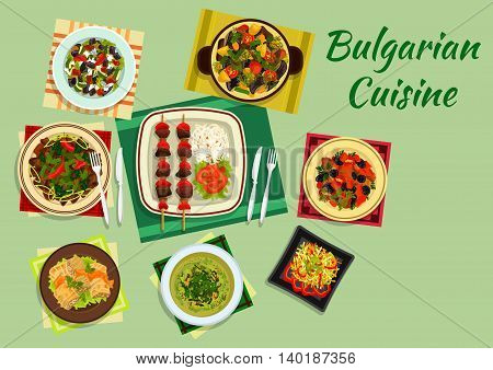 Traditional national dishes of bulgarian cuisine with lamb kebab and vegetables, cabbage rolls sarmi and pork with prunes, cabbage soup, lamb and vegetable casserole guvech, spicy vegetable and meat salads. Flat style
