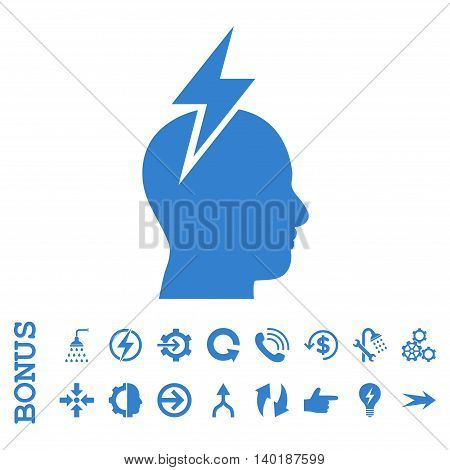 Headache vector icon. Image style is a flat iconic symbol, cobalt color, white background.