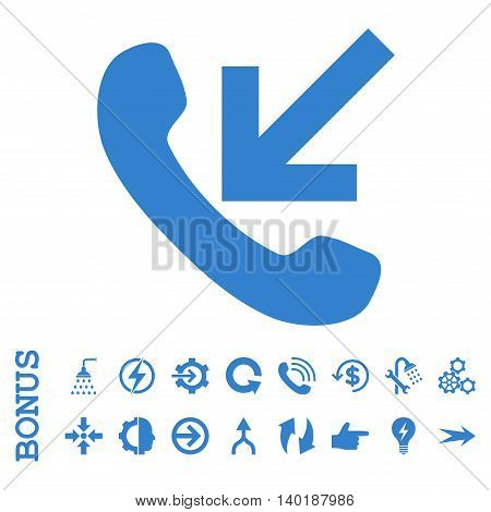 Incoming Call vector icon. Image style is a flat pictogram symbol, cobalt color, white background.