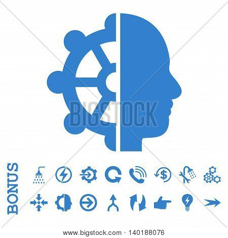 Intellect vector icon. Image style is a flat pictogram symbol, cobalt color, white background.