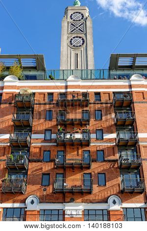 Oxo Tower building located at south Thames embankment in central London.