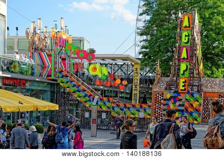 LONDON UK - JULY 1 2014: The Festival of Love at the Southbank Centre From 28 June 2014 to 31 August 2014.