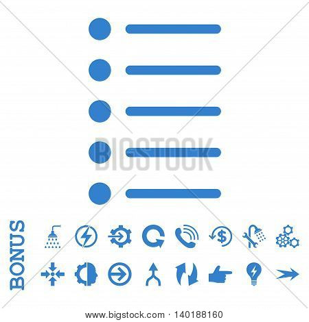 Items vector icon. Image style is a flat iconic symbol, cobalt color, white background.