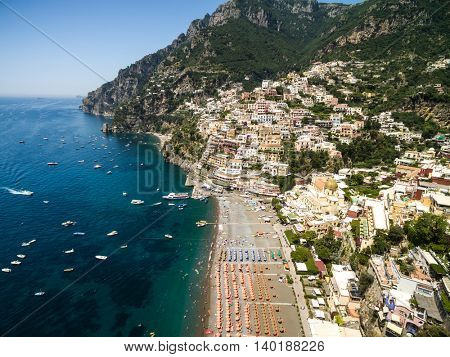 Aerial View of Positano, Amalfi Coast, Italy
