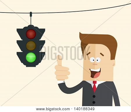 Happy businessman or manager in the background traffic light with a burning green. A man in a business suit and a tie showing thumbs up. The man in cartoon style close up