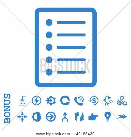 List Page vector icon. Image style is a flat iconic symbol, cobalt color, white background.