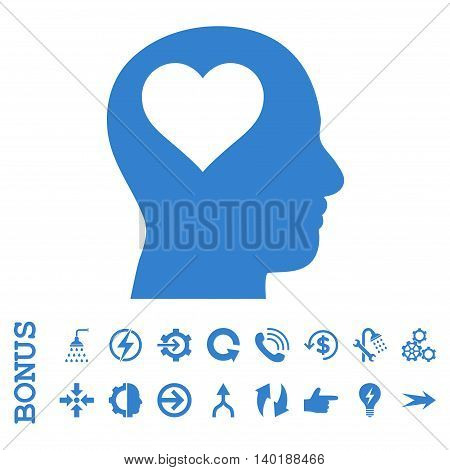 Lover Head vector icon. Image style is a flat iconic symbol, cobalt color, white background.