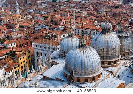 View of Venice from bell tower of St Mark's cathedral