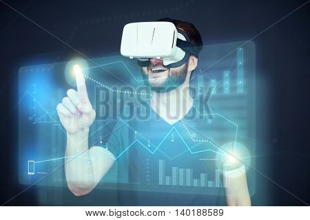 Young Caucasian in VR-headset is clicking on data graph on the futuristic high technology virtual touch screen over dark blue background