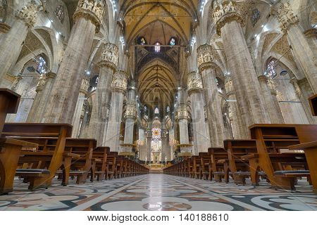 MILAN ITALY - JULY 1 2016: Interior of the Milan Cathedral in Milan Italy