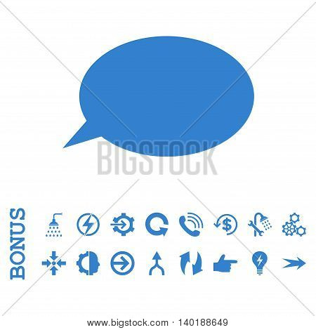 Message Cloud vector icon. Image style is a flat iconic symbol, cobalt color, white background.